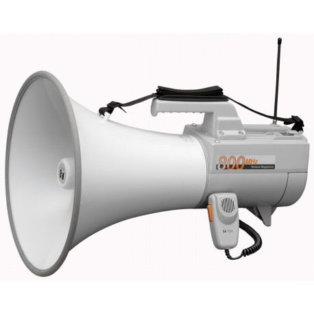 ER-2930W Wireless Shoulder Megaphone 30 W- Whistle- White/Gray