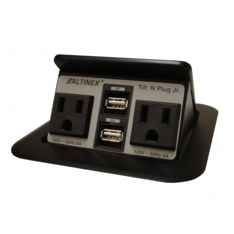 Tilt 'N Plug Jr. TNP155 Tabletop Interconnect Box (2-USB, 2 Power)