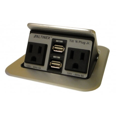 TNP155S Tabletop Interconnect Box (2-USB, 2 Power, Brushed Aluminum)